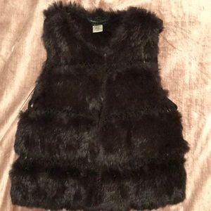 BCBG MaxAzria chocolate rabbit fur vest